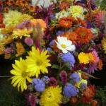 Fall bouquets with a wide variety of chrysanthemums.
